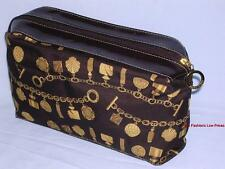 New ESTEE LAUDER Large Makeup Bag Toiletry Kit Gold/Brown Travel Cosmetic Pouch