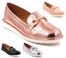 New Ladies Metallic Patent Casual Smart Shoes Flat Loafers Pumps Ballerinas Size