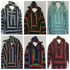 MEXICAN BAJA HOODIE JERGA SURFER SKATER JACKET PULLOVER ASSORTED COLORS SMALL