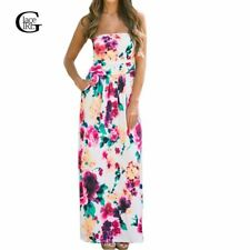 Maxi Dress New Floral Printed Long Dress Sexy Strapless Bohemian Beach
