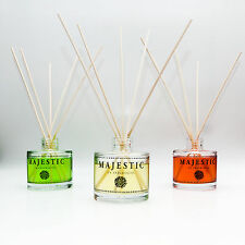 MAJESTIC GLASS BOTTLE + Reed Diffuser Oil Refill Colourful Fragrance Scent Sizes