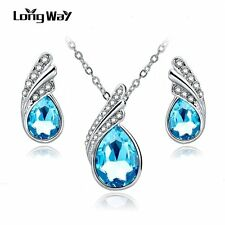 Fashion Jewelry Sets Silver Plated Rhinestone Jewelry Sets Necklace Earrings