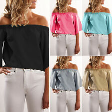Stylish Women New- Off The Shoulder Strapless Tops Flare Sleeve Blouse Tee*Shirt