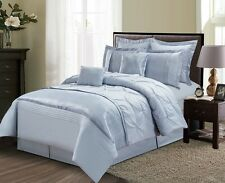 Pinched Pleated Blue Taupe Grey Comforter Cotton Sheet 12 pcs Cal King Queen Set