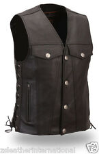 Mens  Best Quality Cow Black Leather Side Lacing Waistcoat Stylish Bikers Vest