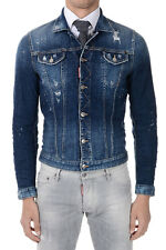 DSQUARED2 New Men Blue stretch Denim Jeans jacket Made in ITALY Nwt