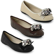 22L NEW WOMENS FAUX LEATHER EMBELLISHED CASUAL FLATS LADIES SMART SHOES SIZE 3-8