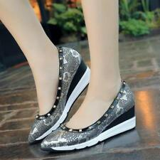 Brand Fashion Leopard Snakeskin Women Shoes Heels And Wedges Rivets Platform
