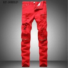 men skinny jeans brand fashion red denim Colorful trousers casual man harem