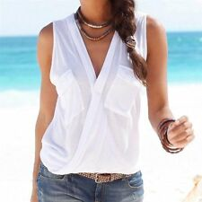 Fashion 2017 Hot Summer Women Vest Top Sleeveless Patch Pocket Blouse Casual
