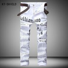New luxury brand fashion stretch mens jeans white letters printing jeans men