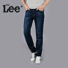 SULee Autumn Quality Jeans Mens Brand Plus Size Casual Straight Blue Denim Jeans