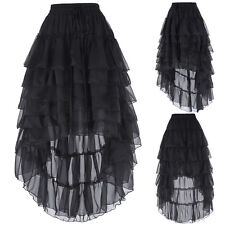 Chiffon Gothic Skirt Victorian Steampunk Vintage Costume Ruffle Party Prom Skirt