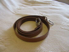 """1/2"""" MED BROWN  REPLACEMENT LEATHER SHOULDER STRAP SILVER FITTINGS S/O SMALL BAG"""