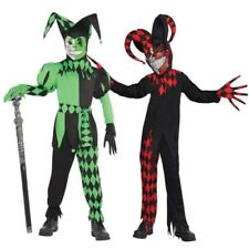 Boys Krazed Or Wicked Jester Harlequin Fancy Dress Costume Halloween Outfit