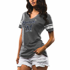Majestic Milwaukee Brewers Women's Gray/White Two Seamer V-Notch T-Shirt - MLB