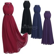 Women Long Chiffon Formal Dress Cocktail Wedding Evening Bridesmaid Prom Gown
