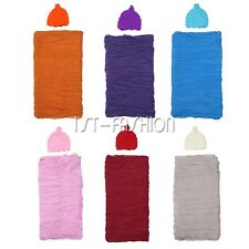 Newborn Photography Knit Wrap Costume Blanket Rug Cloth Hat Baby Photo Props Set
