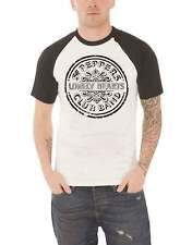 The Beatles T Shirt Sgt Pepper Lonely Hearts Drum Official Mens New White Raglan
