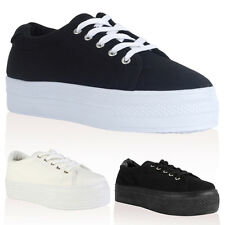 51I WOMENS CANVAS LADIES WEDGE PLATFORM TRAINERS CREEPERS PUMPS SHOES SIZE 3-8