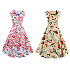 Beautiful Sweetheart Neck Floral and Bird 50s Swing Dress with Soft material