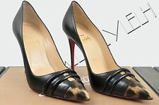 CHRISTIAN LOUBOUTIN 875$ Authentic New Front Double 100 Leather Pumps sz 35