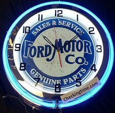 """19"""" Double Neon Clock Ford Motor Co. Sales & Service Genuine Parts Chrome Finish"""