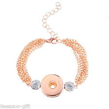 Wholesale Lots Snap Bracelet Fit Snap Button Chain Resin Rhinestone 15.5cm