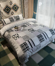 Elegant Black & White Iconic Print With Checkered and leopard Patterned Bed Set