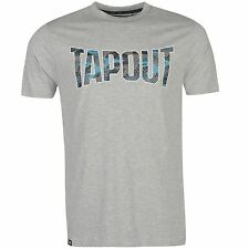 Tapout Camouflage Logo T-Shirt Mens Grey Sportswear Top Tee Shirt