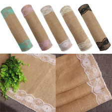 30*270cm Burlap and Lace Table Runner Embroidered Elegant for Wedding Decor ITBU