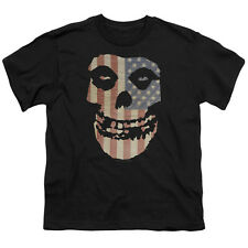 Misfits Band FIEND SKULL Color US FLAG Licensed Youth T-Shirt S-XL