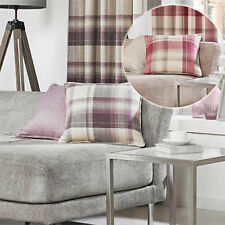 Warm & Cosy! Rustic Tartan Check Scatter Cushion With Woven Wool Feel - For Sofa
