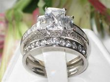 WOMENS EMERALD CUT 3 STONE  SIMULATED DIAMOND  RING  RG1203 WEDDING BAND SET