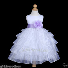 WHITE/LILAC TIERED ORGANZA WEDDING FLOWER GIRL DRESS 12M 18M 2/2T 3/4/4T 6 8 10