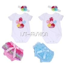 Infant Baby Girls  Birthday Romper Bodysuit Jumpsuit Tutu Bottom Clothes Outfits