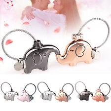 1 Pair Lovely Key Ring Chain Keychain Couple Lover Black Pink Silver Rose Gold