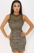 NEW WOMENS LADIES SLEEVELESS KHAKI MESH AND FLORAL LACE BODYCON MINI DRESS