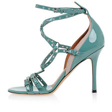 VALENTINO GARAVANI New Woman blue Leather heel Sandals Shoes Made Italy