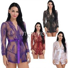 Hot Women Lingerie See Through Lace Mesh Robe Babydoll Dress Sleepwear+G-string