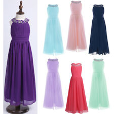 Flower Girl Princess Dress Chiffon Party Wedding Bridesmaid Pageant Formal Gown