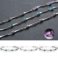 Lucky Woman Silver Plated Bamboo Bracelet Alloy Rhinestone Chain Jewelry Gift