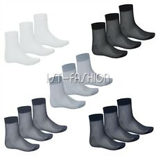 3 Pair Of Men Summer Casual Thin Silk Crew Mid-Calf Business Formal Dress Socks