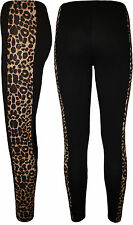 New Womens Leopard Animal Print Panel Long Ladies Full Stretch Leggings 8 - 14