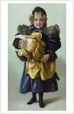 Victorian Girl Holding Doll Retro Home Wall Decor Poster Free Shipping