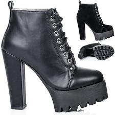 NEW WOMENS BLOCK HEEL CLEATED SOLE LACE UP PLATFORM ANKLE BOOTS US 5 - 10