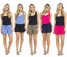 Womens Jersey Cotton Shorts With Elasticated Waist Holiday Beach Clothing Girls