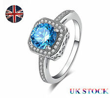 UK Ladies Blue Diamond Rings 925 Sterling Silver Ring Engagement Party Jewelry