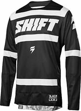 Shift Racing Mens Black/White Black Label Strike Dirt Bike Jersey ATV MX 2018