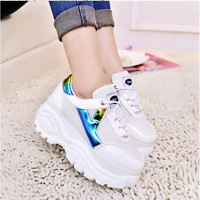 New Womens Fashion Lace Up Sport Platform Thick Sole Sneakers Trainer Shoes New
